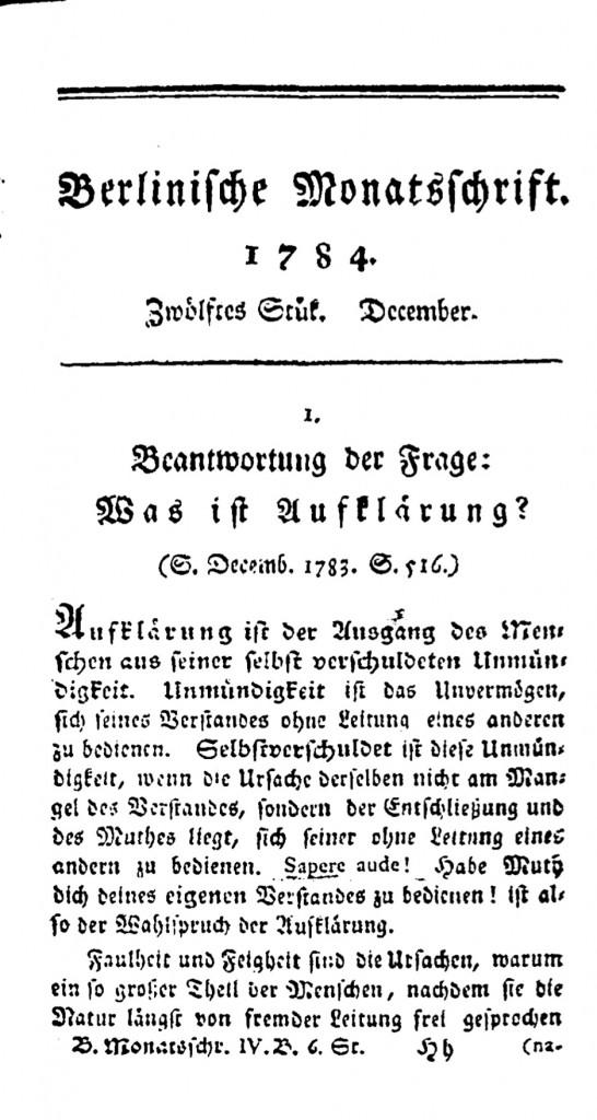 Beantwortung der Frage: Was istAufklärung, 1784